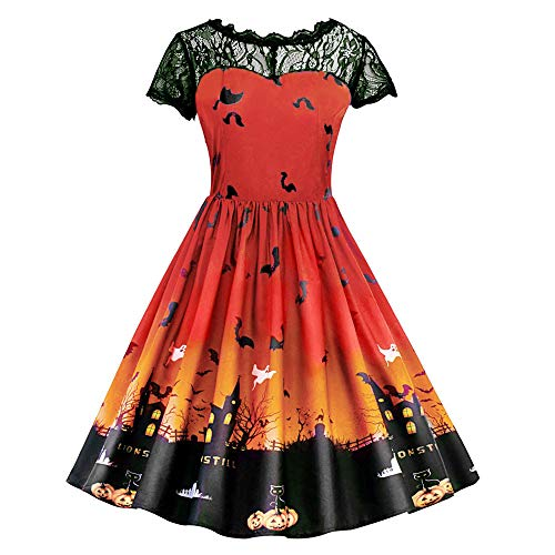 (Riou Damen Langarm Halloween Kostüm Top Set Halloween Kleid Damen lang Frauen Kurzarm Halloween Retro Lace Vintage Kleid gruselig Eine Linie Kürbis Swing Partykleid Schwarz Dress (L, Orange))