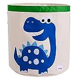 Aufbewahrungskorb Leinwand Karikatur Wäschesack Kinder Spielzeug Aufbewahrung Geeignet für Kinderzimmer oder Kinderzimmer Spielzimmer von ELLEMOI (Blauer Dinosaurier)