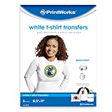 "Printworks White T-Shirt Transfers for Inkjet Printers, For Use on White Fabrics Only, Photo Quality Prints, 5 Sheets, 8 ½"" x 11"" (00549)"