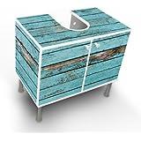 Waschbeckenschrank Unterschrank Badschrank Badmöbel Waschtisch mit Motiv: Blaue Holzlatten