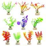 COMSUN Aquarium Pflanzen, 10 Pack künstliche Aquarienpflanzen, Wasserpflanzen, Aquarium Dekoration, Aquarium Gras, Verschiedene Blätter, 3,9-4,5Zoll Kunststoff+Keramik Basis Bunt Farbe