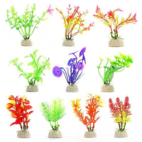 Comsun 10 Stück Wasserpflanzen künstliche Aquarienpflanzen, Aquarium Dekorationen Home Deko Kunststoff bunt Farben