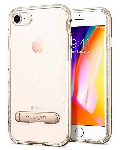 iPhone 8 / 7 Hülle, Spigen® [Crystal Hybrid] iPhone 8 Hülle, Glitzer Design [Rose Quartz] 2-teilige Premium Handyhülle Silikon TPU Schale + PC Rahmen Mit Integrierten Metall-Kickstand Schutzhülle für  CHG Gold Quartz