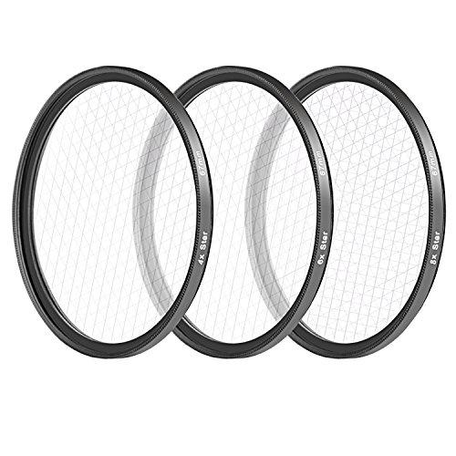 Neewer Kit di Filtri 67mm per Reflex Digitali Canon Nikon Vetro a Definizione Alta e Telaio in Alluminio Inclusi: Filtri Star a Punte/Custodia per Filtri/Stoffa di Pulizia