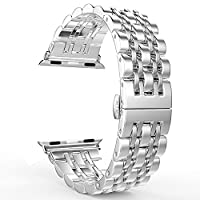 Apple Watch Band,PUGO TOP 316L Stainless Steel Band Watchband Strap Bracelet with Classic 7 Blade Design and Butterfly Clasp for Apple Watch Series 1, Series 2-(38mm,Silver)
