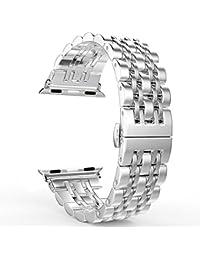 Apple Watch Bracelet Série 1/Série 2,PUGO TOP bracelet à montre en acier inoxydable en acier inoxydable 316L avec design classique 7 lame et fermoir papillon pour Apple Watch Sport (42mm, argent)