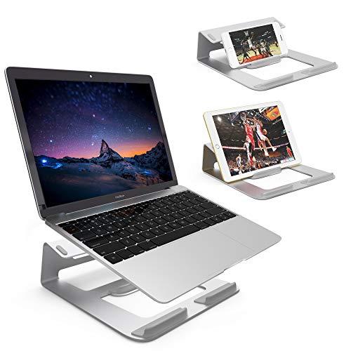 Dobee Laptop Ständer Aluminium Belüftet Notebook Ständer Ergonomische Riser Tragbare Laptopständer mit Anti-Rutsch Silikon für MacBook Pro/Air, Tablet, Mobiltelefon-Silber (Patentiert) -