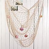 MKISHINE Fischernetz Dekoration mit Muscheln zum Aufhängen Fischnetz Deko Wandverzierung