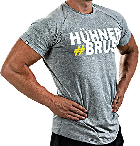 Satire Gym Fitness T-Shirt Herren - Funktionelle Sport Bekleidung mit Satire Charakter - Verschiedene Farben & Motive - Geeignet Für Workout, Training - Slim Fit (#Hühnerbrust grau, L)