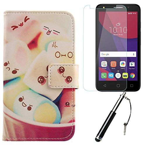 Lankashi 3in1 Set Lovely PU Flip Leder Tasche Für Alcatel One Touch Pixi 4 3G 5010D 5