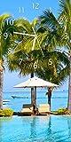 Wallario Design Wanduhr Sonnenschirme am Südsee-Palemenstrand mit Blauem Meer-Wasser aus Acrylglas, Größe 30 x 60 cm