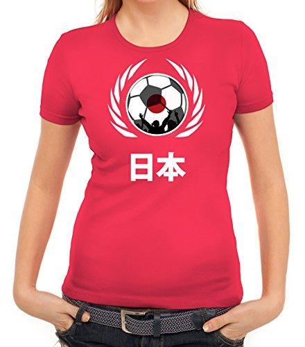 ShirtStreet World Cup Wappen Soccer Fussball WM Fanfest Gruppen Fan Wappen Damen T-Shirt Fußball Japan Pink