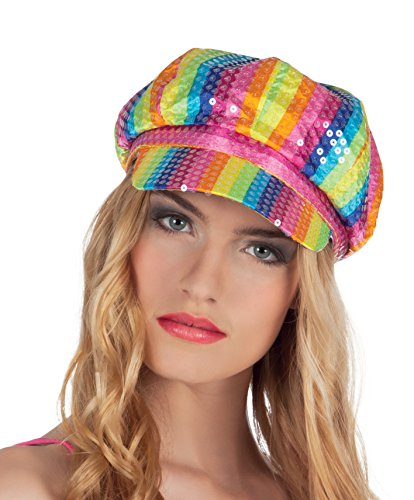 Rainbow Coloured Disco Cap with sequins.