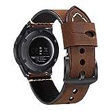 FINTIE Bracelet pour Samsung Galaxy Watch 46mm/ Gear S3 Frontier/ Classic/ Huawei Watch GT Sport Smartwatch - en Cuir Véritable Watch Remplacement Bracelet de Montre avec le Fermoir, Marron
