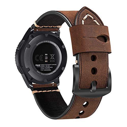 Fintie Armband kompatibel für Galaxy Watch 46mm/ Gear S3 Frontier/Gear S3 Classic/Huawei Watch GT Smart Watch - Premium Uhrarmband aus Echtleder Vintage Ersatzband mit Edelstahlschnalle, Dunkelbraun (Seiko-uhr-handgelenk-band-pins)