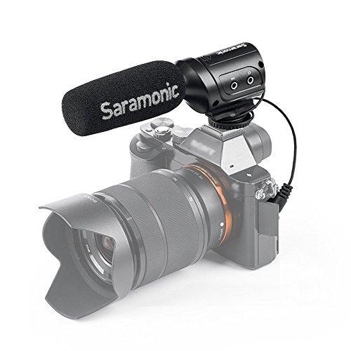 Saramonic SR-M3 Mini Richtrund Video-Mikrofon für youtube und Interview mit extra Mikrofoneingang und Echtzeit-Kopfhörer-Überwachung, für Nikon Canon Sony Kamera, Camcorder