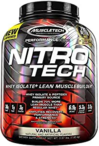 Muscletech Performance Series Nitrotech Whey Protein Peptides & Isolate (30g Protein, 2g Sugar, 3g Creatine, 6.9 BCAAs, 5g Glutamine & Precursor, Post-Workout) - 4lbs (1.81kg) (Lucky Marshmallow)
