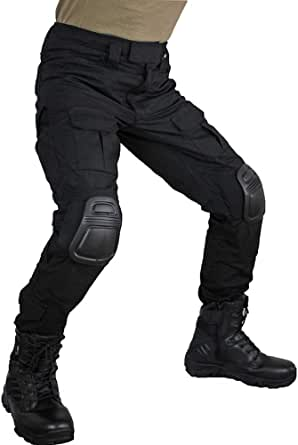zuoxiangru Men's Multicam Tactical Trousers Multi-Pockets Military Camo Outdoor Airsoft Combat Hunting Pants with Knee Pads (Black, US XL=Tag 38)