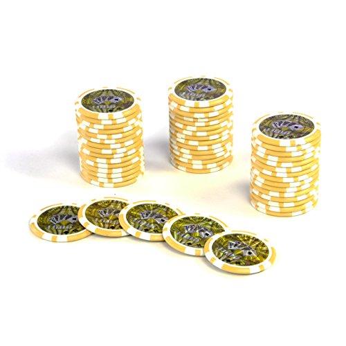 -Chips OCEAN-CHAMPION-CHIP Wert 1000 - 12g Metallkern Poker Texas Hold`em Black Jack Roulette - Kanten abgerundet – gelb (Texas Hold ' Em Plastikkarten)