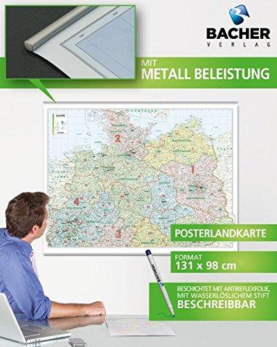 BACHER ORGA-Karte Norddeutschland, Maßstab 1:500 000, Papierkarte gerollt, folienbeschichtet und beleistet: Die ORGA-Karte beinhaltet die ... auf der Linie Aachen - Marburg - Zwickau