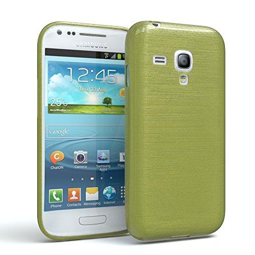 EAZY CASE Hülle für Samsung Galaxy S3 Mini Schutzhülle Silikon, gebürstet, Slimcover in Edelstahl Optik, Handyhülle, TPU Hülle/Soft Case, Backcover, Silikonhülle Brushed, Grün