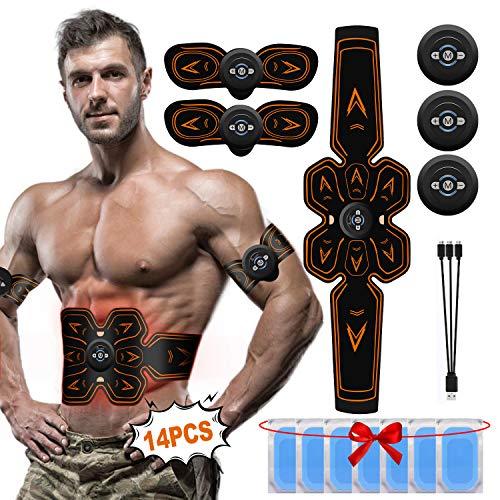 A-TION Elettrostimolatore per Addominali, EMS Elettrostimolatore Muscolare Professionale Cintura Uomo Donna, ABS Stimulator Addominali Attrezzi (Compreso 14PCS Gel Pad Sostituzione) Grasso Bruciante