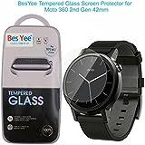 Motorola Moto 360 2nd Gen Smartwatch Protector de pantalla 42 mm, Real BesYee 0,3 mm de vidrio templado Protector de pantalla reloj para Moto 360 2 Smartwatch 42 mm