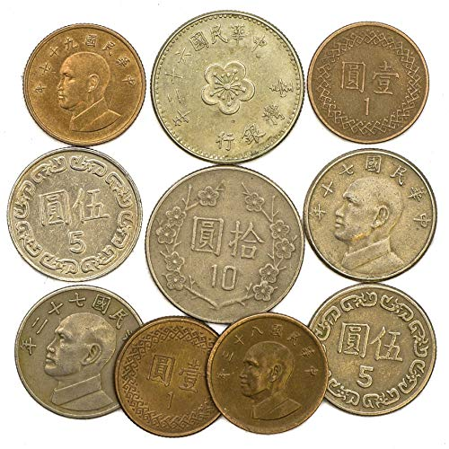 10 alte Münzen aus Taiwan. -Sets Collectible Coins from East Asia Insel Formosa Münze Tasche, Münze, Münzen Sammlung Dollar. -