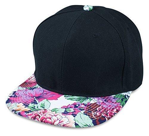 Sense42 Schwarze Snapback Cap   mit Schirm im Floral Design   Weiß Pink Orange Grün   Flat Cap Bill   Unisex   Hip Hop Kappe   Schirmmütze   Blumen   One Size   in verschiedenen Farben