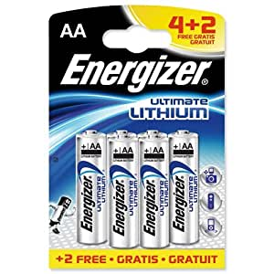 Energizer Ultimate Battery Lithium LR06 1.5V AA [Pack 6 For 4]