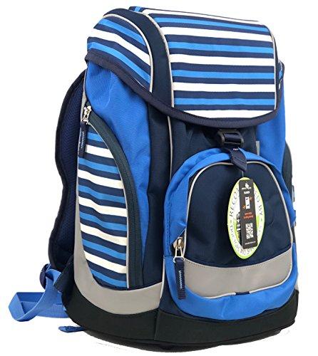 Schultaschen-Set/Rucksack für Jungen/Mädchen - sehr leicht, ergonomisch, wasserfest, top Verarbeitung inkl. isolierter Seitentasche und magnetischer Wechselsticker (Dunkelblau/Hellblau)