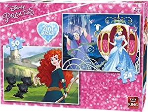 King Disney 2in1 Princesses 24/50 pcs Puzzle - Rompecabezas (Puzzle Rompecabezas, Dibujos, Niños, Disney, Princesses, Chica)