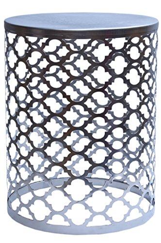 MAADES Design Marokkanische Hocker Beistelltische Sitzhocker Metall Rund - Hoka (Mittel, Silber)