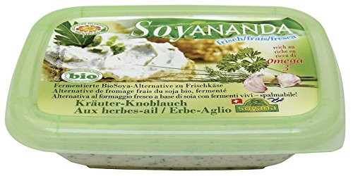 Soyana Bio Soyananda Kräuter- Knoblauch – vegane Alternative zu Frischkäse aus fermentiertem BioSoya (6 x 140 gr)