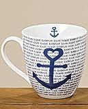 Jumbotasse Anker 600ml Porzellan Anker blau believe hope love H11,5 cm