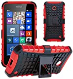 G-Shield Nokia Lumia 630/635 Hülle Silikon mit Ständer Stoßfest Schutzhülle Dünn Tasche Hybrid Armor Cover Case Etui Handyhülle mit Displayschutzfolie und Stylus - Rot