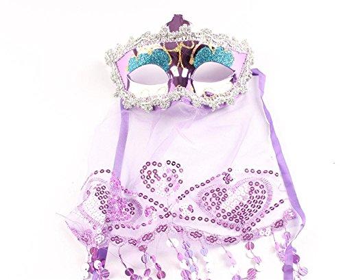 Jack Mall- Halloween Maske weibliche Maske Prinzessin Schleier Kinder Flirty Weihnachten Stained Bar Tanzpartys ( Farbe : Lila ) (Lila Weihnachten Jack)