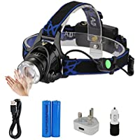 LED Headlamp,Asvert Hand Motion Sensor Switching 1000 Lumens Zoomable Waterproof Rechargeable LED Head Torch with 4 Modes Head Light Perfect for Running, Camping, Hiking,Walking The Dog and Working