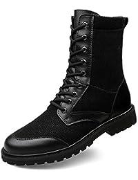 ailishabroy Botas de Montaña de Trabajo de Patrulla Militar de Los Hombres Botas Tácticas de Cuero Negro de Verano