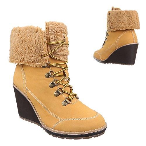 Ital-Design Keilstiefeletten Damen-Schuhe Plateau Keilabsatz/Wedge Keilabsatz Schnürsenkel Stiefeletten Camel, Gr 39, P-497-
