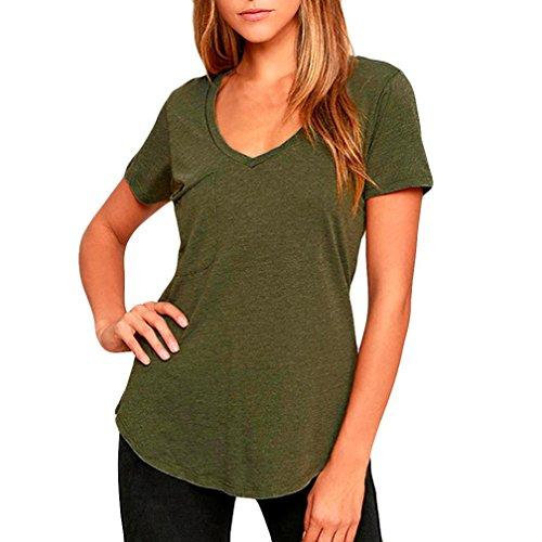 Overdose Frauen Sommer Plus Size V-Ausschnitt Casual Solid Kurzarm T-Shirt Tank Tops Bluse Basic Tees Oberteile(Army Green,EU-36/CN-S)