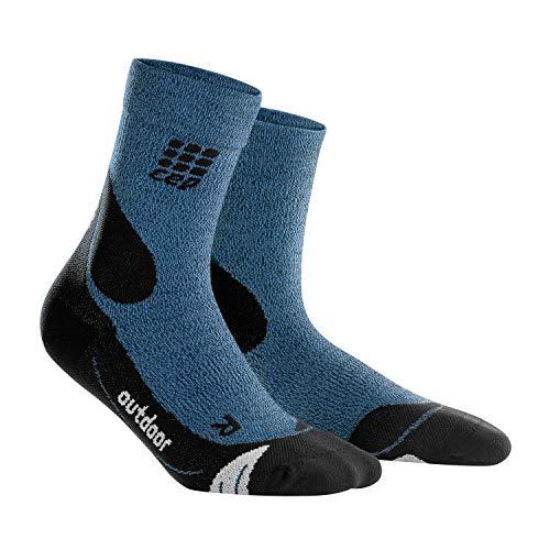CEP - Outdoor Merino MID-Cut Socks für Damen | Warme Wandersocken knöchellang in blau/schwarz | Größe III