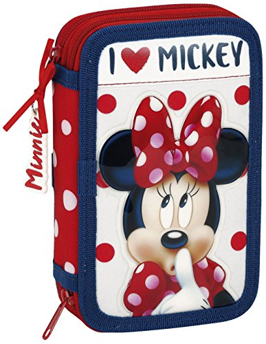 Minnie 411748854 Mouse Estuches, 20 cm, Rojo y Blanco