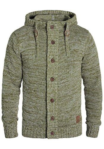 !Solid Pierrot Herren Strickjacke Cardigan Grobstrick Mit Kapuze Aus 100% Baumwolle Mit Knopfleiste, Größe:L, Farbe:Ivy Green (3797)