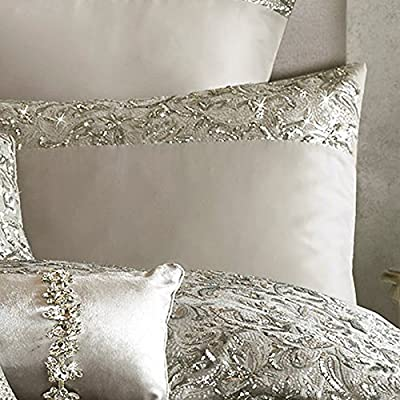 Kylie Minogue At Home Silver 'Alexa' 200 Thread Count Pillow Case - cheap UK light store.