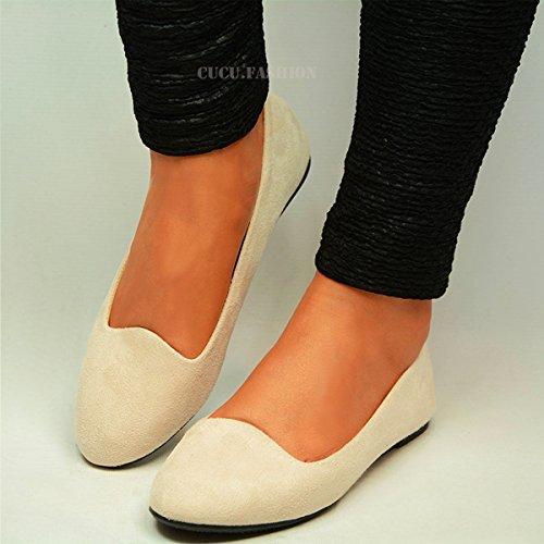 29dd8224c3c New Ladies Suede Ballet Dolly Pumps Womens Classic Plain Ballerina ...