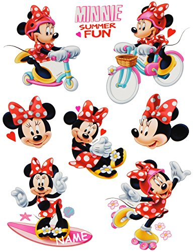 Unbekannt 8 TLG. Set _ Fensterbilder -  Minnie Mouse  - incl. Name - Sticker Fenstersticker Aufkleber - statisch haftend / selbstklebend + wiederverwendbar - Fensterb..