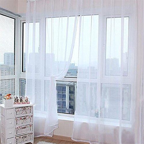 LINGJUN 1 Paire Solide Voilage Rideaux de Fenêtre Transparent Tulle Voile pour Décoration Maison Porte Fenêtre Balcon Chambre Salon Couleur Pure (Blanc)