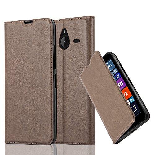 Cadorabo custodia libro per nokia lumia 640 xl in bruno café – con vani di carte, funzione stand e chiusura magnetica – portafoglio cover case wallet book etui protezione