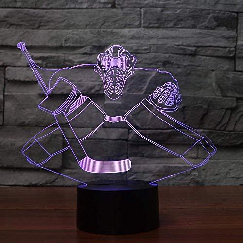 WJPDELP-YEDE Neuheit Eishockey LED Nachtlicht 3D Bunte Visuelle Büro Lampe Wohnkultur Fans Sport Geschenke Schlafzimmer Junge Nachttischlampe